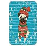 Rectangular Area Rug Mat Rug,Pug,Happy Dog with Winter Clothes Vibrant Stripped Background with White Stars Moon Decorative,Emerald Blue Red,Home Decor Mat with Non Slip Backing