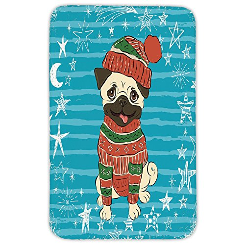 Rectangular Area Rug Mat Rug,Pug,Happy Dog with Winter Clothes Vibrant Stripped Background with White Stars Moon Decorative,Emerald Blue Red,Home Decor Mat with Non Slip Backing by iPrint