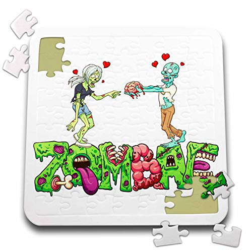 3dRose Carsten Reisinger - Illustrations - Funny Zombae Halloween Couple Zombie Woman Man - 10x10 Inch Puzzle (pzl_294852_2)]()