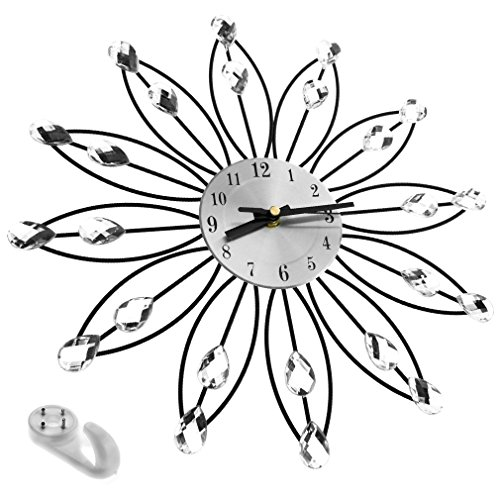 Handcrafted Diamante Jewelled Crystal Daisy Wall Clock Silver 33cm New