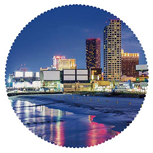 iPrint Personalized Round Tablecloth [ City,Resort Casinos on Shore at Night Atlantic City New Jersey United States,Violet Blue Pink Yellow ] Tablecloth Design -