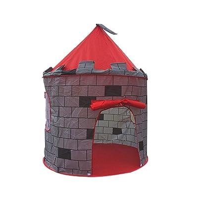 aoixbcuroc Tienda de Juegos de Montaje rápido Red Castle para niños: diseño emergente Montaje fácil Incluye Bolsa de Almacenamiento práctica: Juguetes y juegos