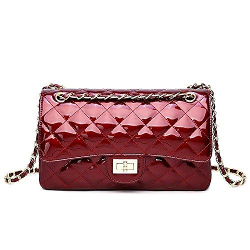 GMYANDJB Shoulder Bags Purse Messenger Bags PU Leather Ladies Handbags Quilted Flap Bags Female Totes Women Shoulder Bags - Burgundy L