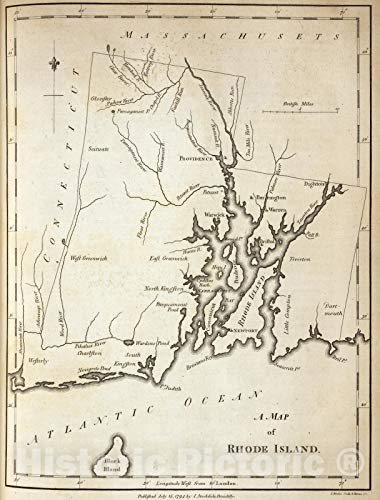 (Historic Map | Geography Book, Rhode Island. 1794 | Vintage Wall Art | 24in x)