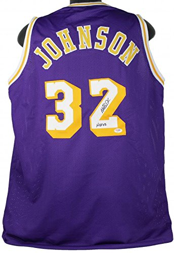 927576a00 Image Unavailable. Image not available for. Color  Lakers Magic Johnson   HOF 02  Authentic Signed Purple Jersey ...