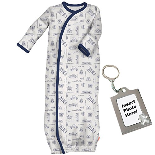 Magnetic Me Boys Baby Gown Sleeper with Easy Close Magnets Newborn Blue (Clark Kent Outfit)