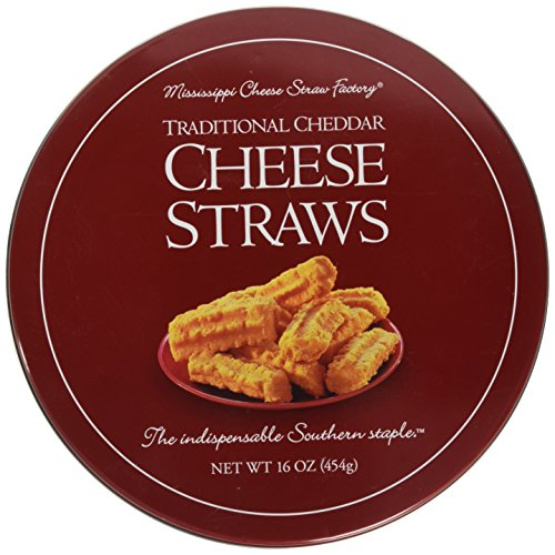 Mississippi Cheese Straw Factory Traditional Cheddar Cheese Straws in Gift Tin, 16oz (454g)