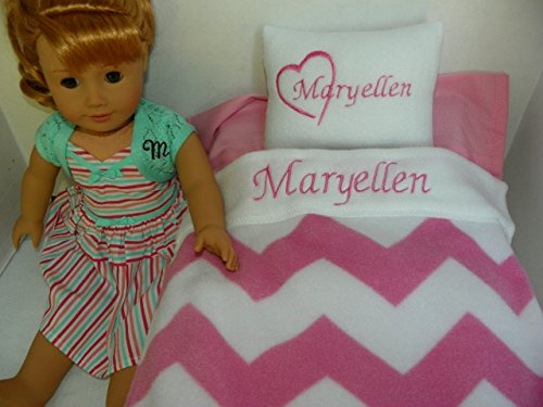 Pink Chevron Doll Bedding Set Personalized with YOUR NAME CHOICE for 15-18