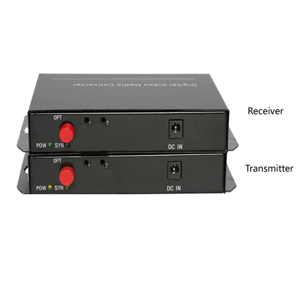 Guantai 8 Channels Video Fiber Optical Media Converters (1Pair Transmitter & Receiver) Singlemode Fiber Up to 20Km for CCTV Cameras Surveillance Security System