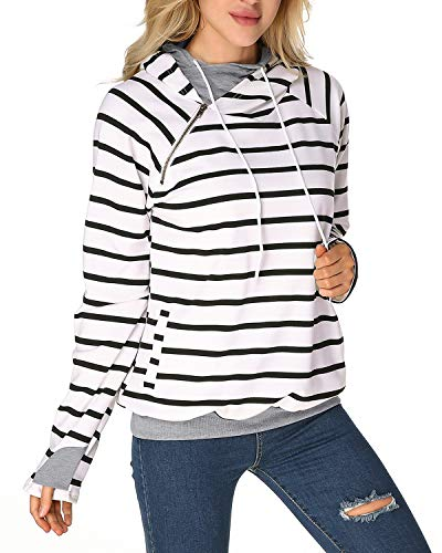 - StyleDome Striped Funnel Cowl Neck Hoodie Double Hooded Ampersand Sweatshirt Thumb Hole Sweater for Women White M