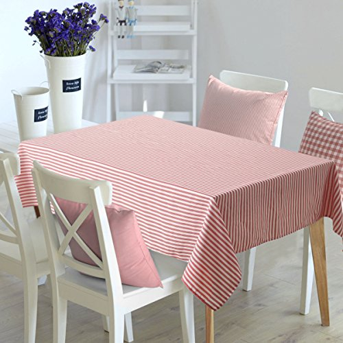Deconovo Stripe Pattern Table Cover Superior Material Water Spill Resistant Washable Tablecloth for Picnic 54W x 54L Inch White and Red