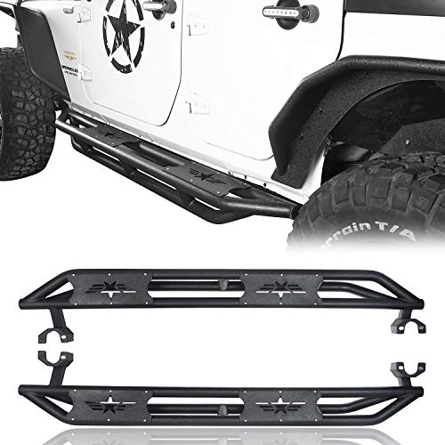Hooke Road Jeep Wrangler Running Boards, Star Tubular Side Steps 4 Door Rails for 2007-2018 Jeep Wrangler JK Unlimited (Pair)