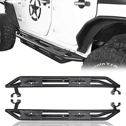 Hooke Road Jeep Wrangler Running Boards, Star Tubular Side Steps 4 Door Rails for 2007-2018 Jeep Wrangler JK Unlimited (Pair) ()
