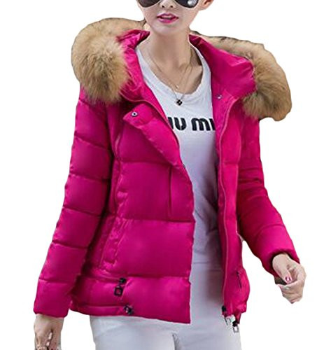 Women's M amp;W Jackets Down Warm Collar amp;S Fur Red Padded Rose Puffer 66pwS