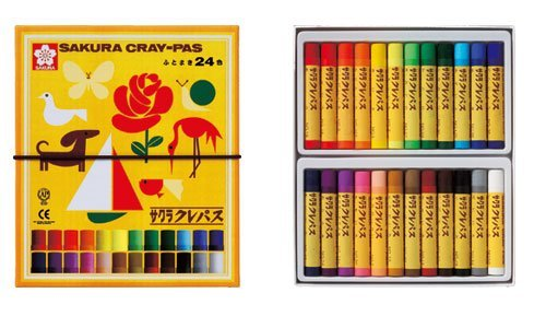 ((Gomuhimo with) five set 24 color pastel crayon rolling thickly (japan import))