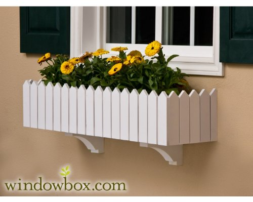 (72 Inch Picket Fence No Rot PVC Composite Flower Window Box w/ 2 Decorative Brackets)