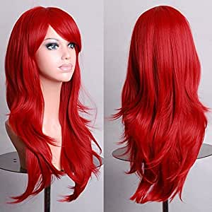 Curly Wavy Straight Wigs Fancy Anime Womens Cosplay Costume Party Hair Full Wig #2 Red - Wavy