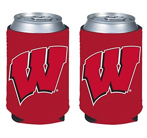 (NCAA College 2014 Team Logo Color Can Kaddy Holder Cooler 2-Pack (Wisconsin Badgers))