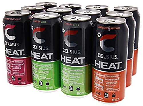 Celsius Heat Carbonated Thermogenic Pre-Workout for an Accelerated Metabolism and Healthy Energy 12/16oz Cans (Variety Pack #2)