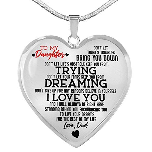 Stashix to My Daughter Live Your Dreams Love Dad Luxury Heart Shape Necklace Anniversary Graduation Birthday Gift for Daughter