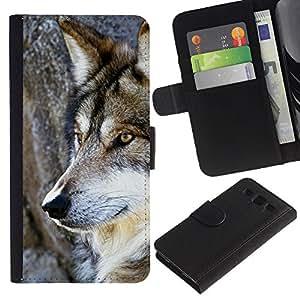 Planetar® Modelo colorido cuero carpeta tirón caso cubierta piel Holster Funda protección Para Samsung Galaxy S3 III i9300 i747 ( Wol salvaje árbol Naturaleza Animal Perro de Brown )