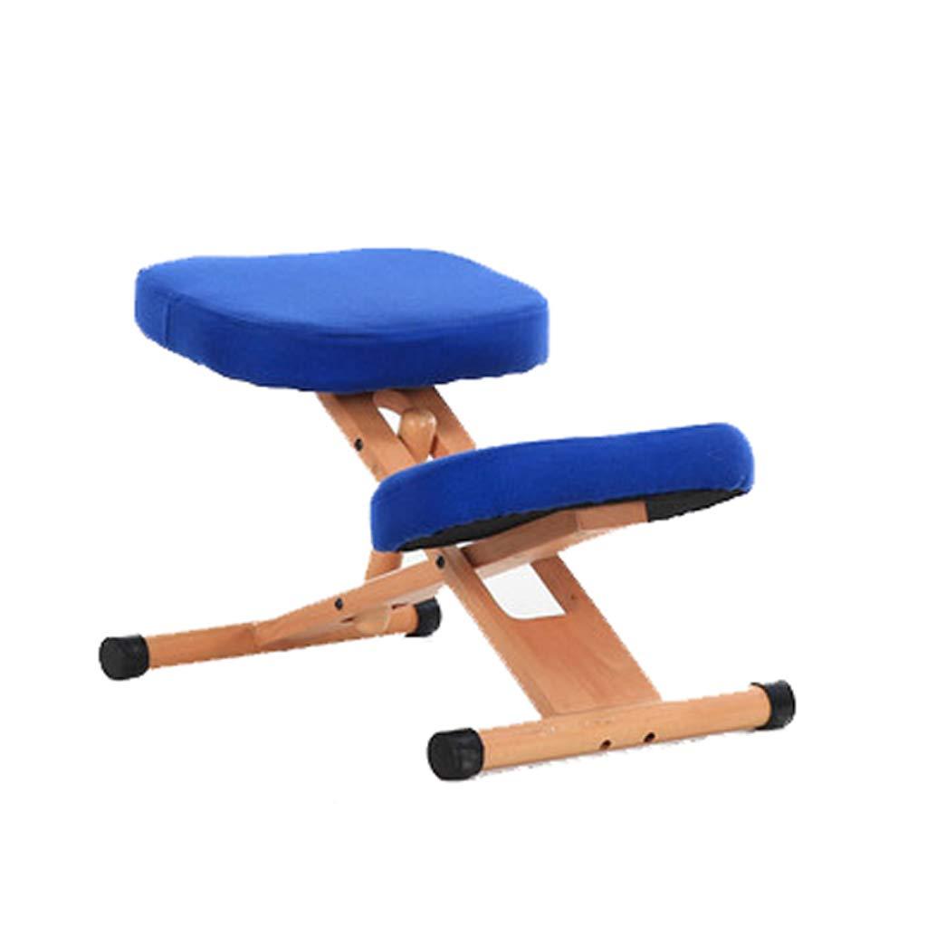 Unbekannt THBEIBEI Anhebbarer Computer-Stuhl des festen Holzes justierbar mit Knie-Stützhaushalt (Farbe : Blau, größe : 46 * 64cm)