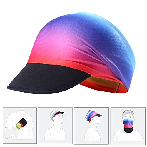 (rnairni Muitifunction Sports Sun hat Headband Outdoor Running Cycling Peaked Golf Cap Headwear Visor Hat Race Gear Breathable Moisture Wicking UV Protection For Men & Women Rainbow)