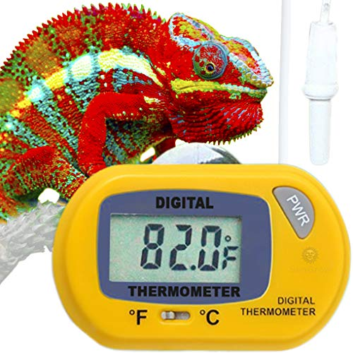 Habitat Thermometer - Reptile Digital Thermometer --- Waterproof sensor probe monitors temperature Accurately - Easy to read Display - Includes Replaceable Batteries - Dual Temperature reading in Fahrenheit and Celsius