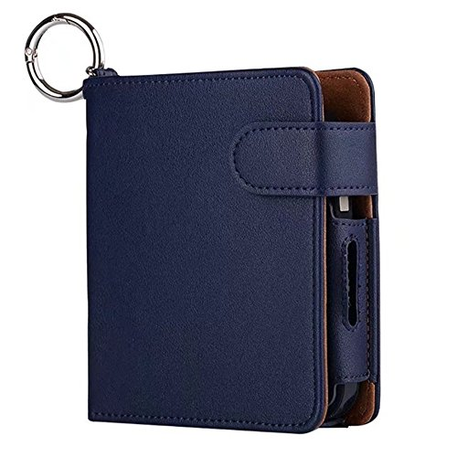 iQOS Pouch Bag iQOS Wallet Case Electronic Cigarette PU Leather Carrying Case Box with Card Holder Tobacco Cigarette Protective Holder Cigar Cover (Blue)