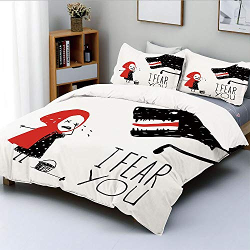 Duplex Print Duvet Cover Set Queen Size,Fairy Tale Design with Little Girl Colorful Scarf Big Scary Animal Sketch StyleDecorative 3 Piece Bedding Set with 2 Pillow Sham,Black Red White,Best Gift For K ()