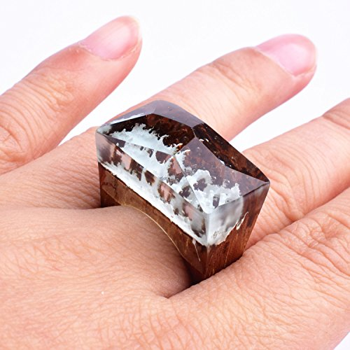 Heyou Love Handmade Wood Resin Ring With Blue Sky Landscape Inside Jewelry by Heyou Love (Image #5)