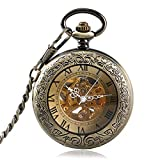 Retro Pocket Watch, Bronze Roman Numeral Automatic Mechanical Pocket Watch, Carving Transparent Glass Gift for Men