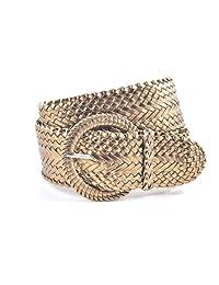 "Ladies Fashion Web Braid Faux Leather Woven Metallic Wide Belt 22 Colors (M (38""), Metallic Bronze)"