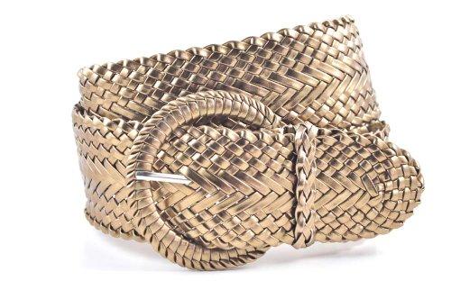 (Women's Fashion Web Woven Braid Faux Leather Metallic Wide Belt, L 43