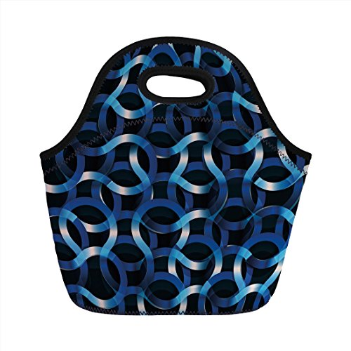 Neoprene Lunch Bag,Dark Blue,Curvy Shaped Entangled Complex Industrial Modern Mesh Machinery Concept,Blue Dark Blue White,for Kids Adult Thermal Insulated Tote ()