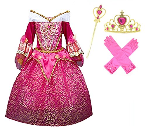 Princess Dresses (Princess Aurora Deluxe Pink Party Dress Costume (6-7))