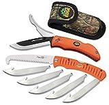 Outdoor Edge RazorPro Double Blade Hunting Knife and 4.5' Folding Saw Combo, Mossy Oak Sheath (Blaze Orange)