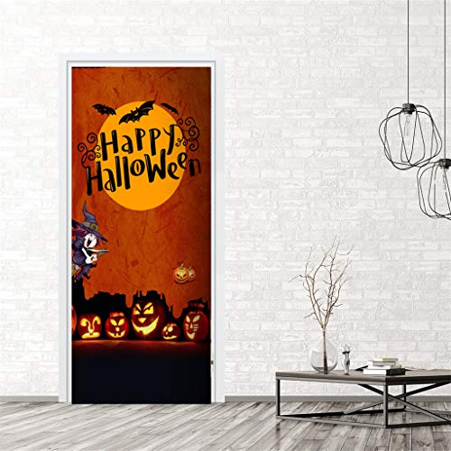 Iusun Halloween Creative Funny Door Sticker Window Glass Cabinet Removable DIY Mural Paper Decoration for Living Room Home Nursery Bedroom Office Supplies Decal (E)