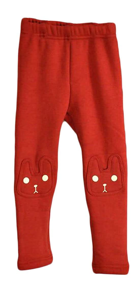 Fulok Girls Cute Tights Stretch Fleece-Lined Full-Length Leggings Red 8T
