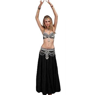 Traje Tribal de Danza del Vientre para Mujer Conjunto de Sujetador y cinturón de Danza del