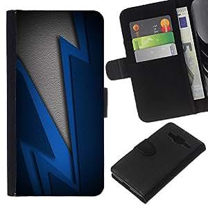 EJOY---La carpeta del tirón la caja de cuero de alta calidad de la PU Caso protector / Samsung Galaxy Core Prime / --Blue Lightning