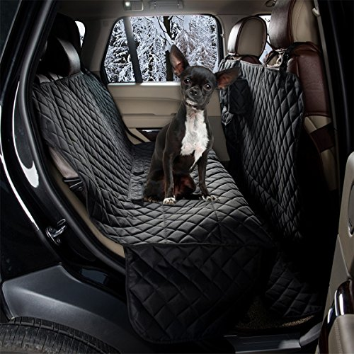 ZQ All Coverage Rear Seat Cover Padded Anti-Slip Dog Car Seat Cover Waterproof Hammock Seat Cover Bench Protector for Pets and Kids (Hammock, Black)