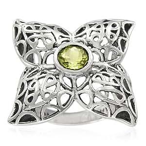 Sterling Silver Celtic Round Lemon Quartz Ring, Size 5