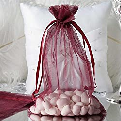 "Efavormart 10PCS Burgundy Organza Gift Bag Drawstring Pouch Wedding Favors Bridal Shower Treat Jewelry Bags - 6""x9"""