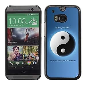 Caucho caso de Shell duro de la cubierta de accesorios de protección BY RAYDREAMMM - HTC One M8 - Yin Yang Blue White Opposing Philosophy