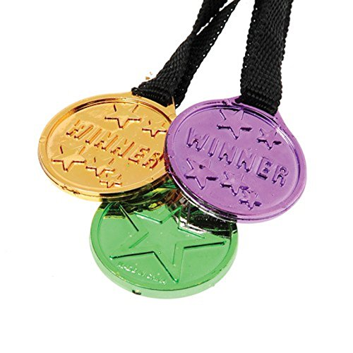 Lot of 12 Assorted Halloween Color Winner Medal Necklaces (Halloween Costume Winners)