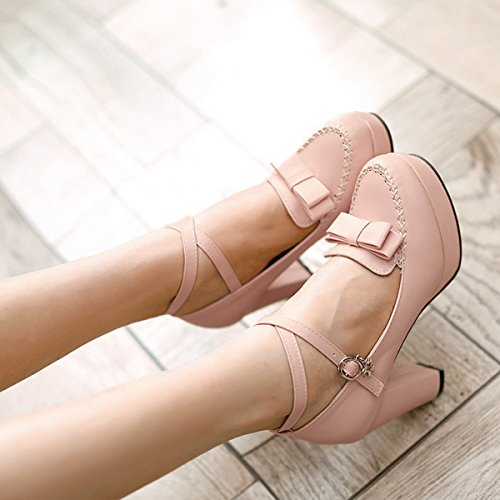 Women's Toe Summer High Belt CHNHIRA Shoes Court Pink Bowknot Heel Bright Block dwqn7TXZ7