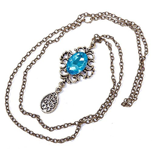 Retro Vintage Hollow Out Artificial Sapphire Water-drop Sweater Chain Necklace