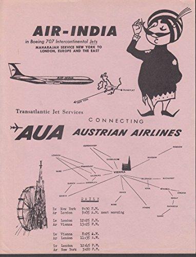 Air-India / Austrian Airlines Transatlantic Jet Services timetable sheet c 1950s