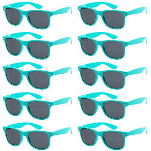 WHOLESALE UNISEX 80'S STYLE RETRO BULK LOT SUNGLASSES (Aqua Teal, - Sunglasses Teal Wayfarer